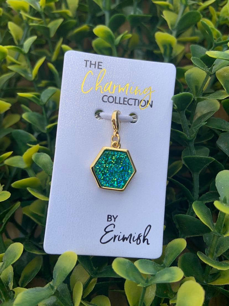 The Charming Collection Blue-Green Hexagon Druzy