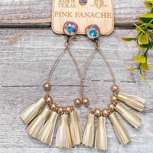 AB Square Gold Teardrop Gold Tassel Earrings