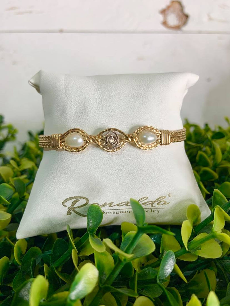 Ronaldo Designer Jewelry Desirable (Wide) Gold Bracelet with White Topaz