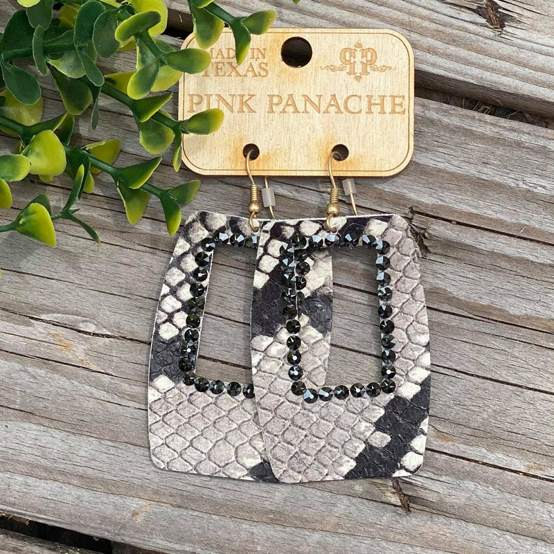 Grey Python Open Square Black Earrings