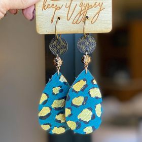 Upcycled Blue Leopard earrings