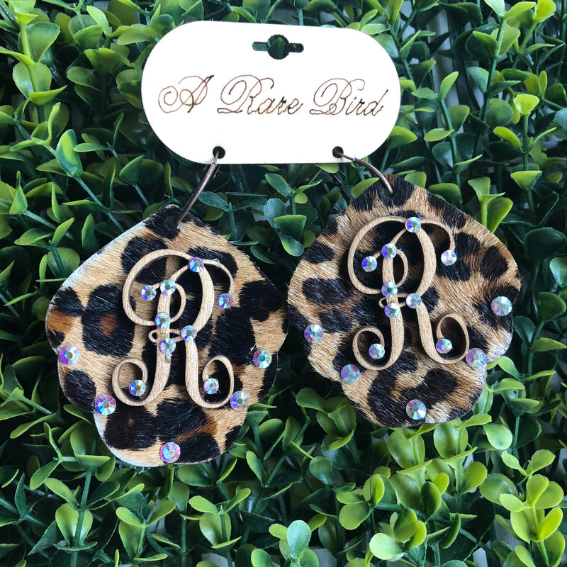 Leopard Hide Initial Earrings
