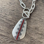 Matte Silver Chain with Silver Teardrop Red Crystals