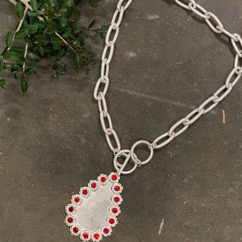 Matte Silver Chain Silver Teardrop Red Crystal Necklace