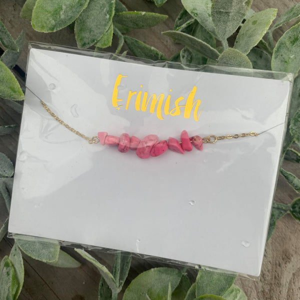 Pink Marble Rock and Gold Choker