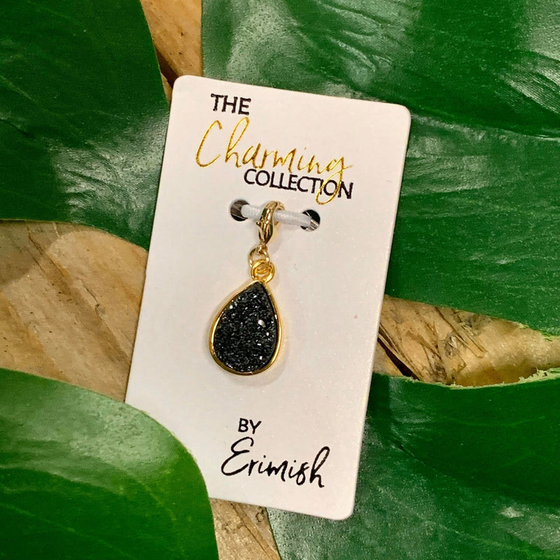 The Charming Collection Black Teardrop Druzy