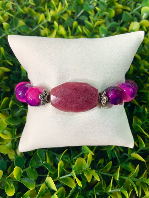 Sandra Ling Pink and Purple Beads with Big Stone Bracelet
