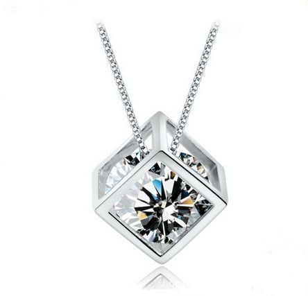 2016 Best Selling Pure 925 Sterling Silver Unique Square Shape Cubic Zirconia Pendant Necklace