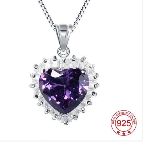 2016 Fashion Amethyst Pendant Necklace 925 Sterling Silver