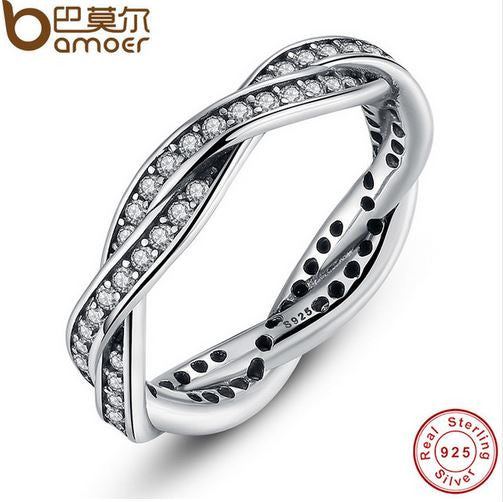 luxury beauty 925 sterling Silver rope ring