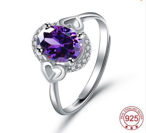 Amethyst Crystal Ring Fashion 925 Sterling Silver