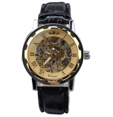 Mechanical  Luxury Top sale Men's Classic Black Leather Gold Dial Skeleton