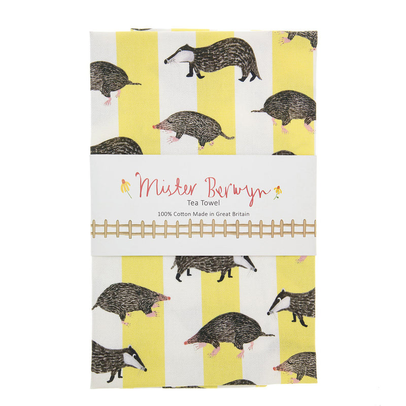Badger and Mole Stripe Tea Towel