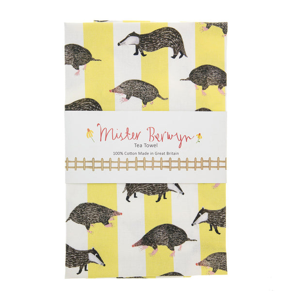 Nocturnal Badger and Mole Stripe Tea Towel