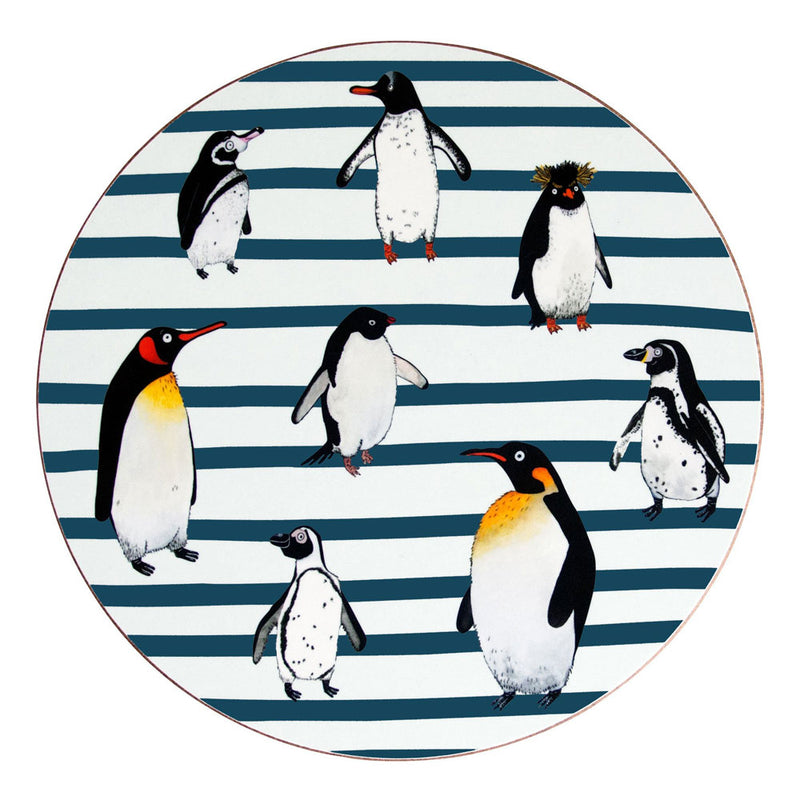 Blue Stripe Penguin Waddle Placemat