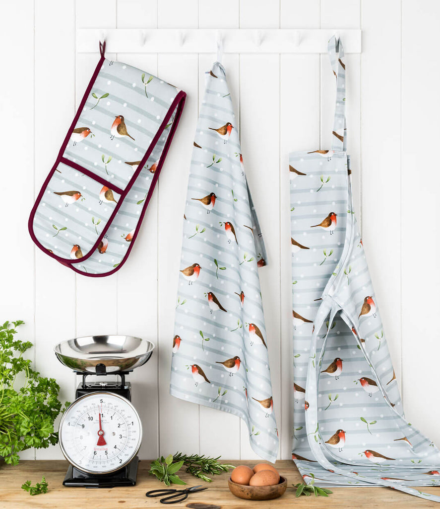Christmas Robin Tea Towel