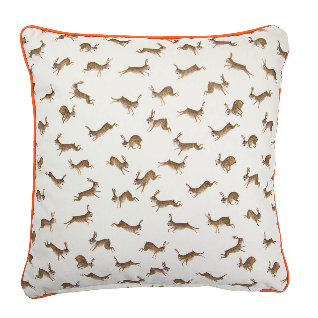 Fox and Rabbits Velvet Cushion