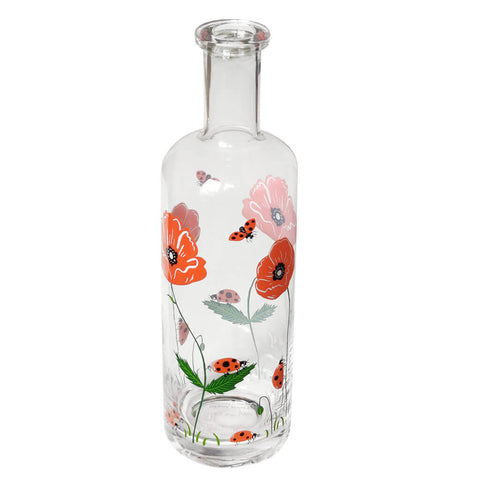 Ladybird and Poppy Glass Bottle