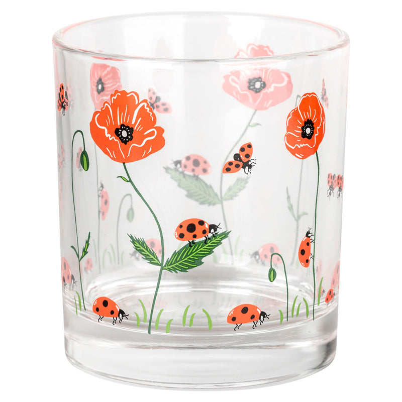 Ladybird and Poppy Glass Tumbler