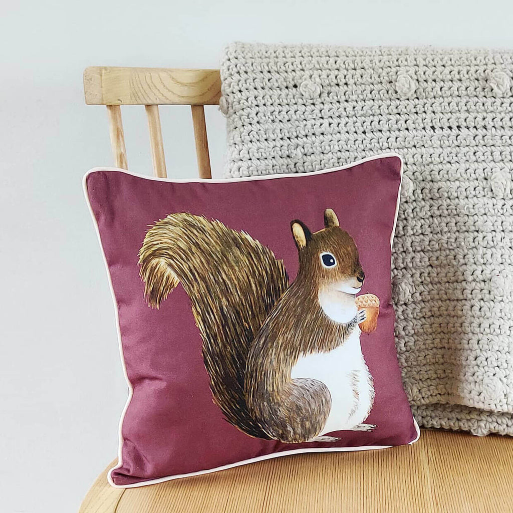Acorn and Squirrel Cushion