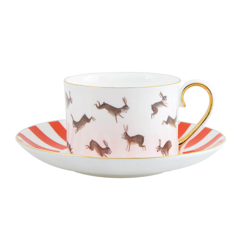 Fox and Rabbits Teacup and Saucer