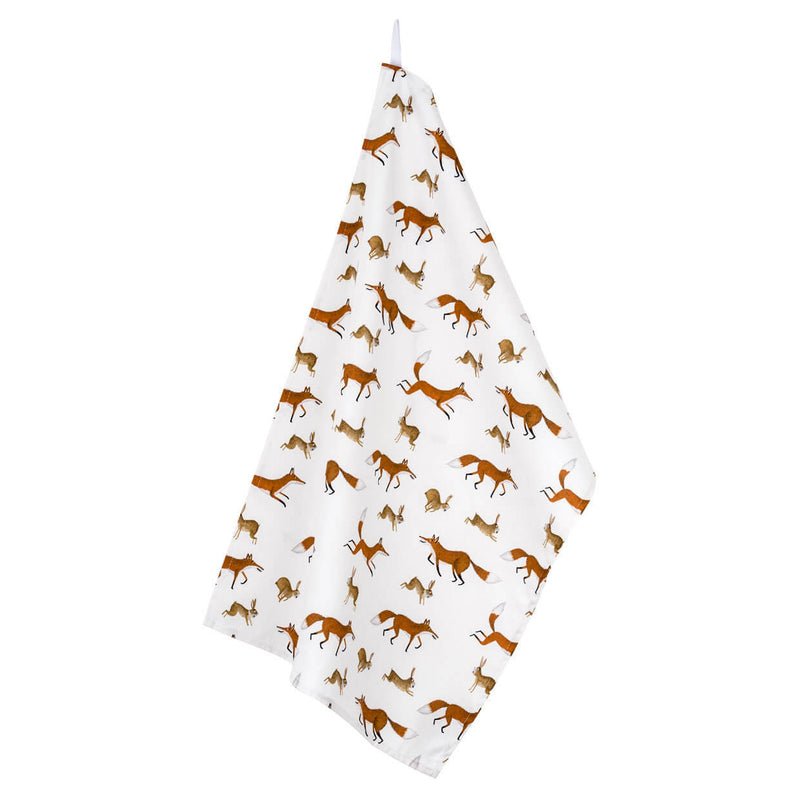 Fox and Rabbits Tea Towel