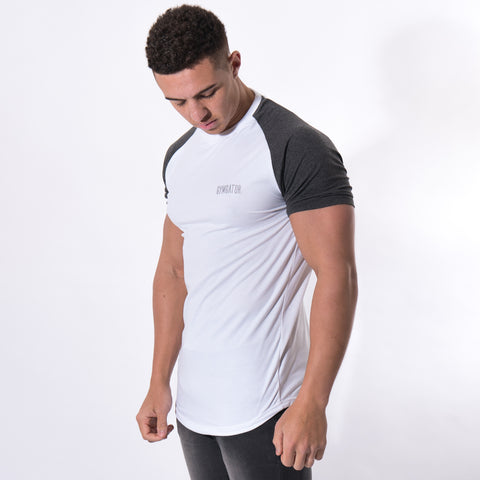 Men's Contrast Sleeve Longline T-Shirt White/Charcoal