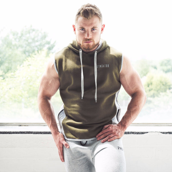 Men's Icon Sleeveless Hoodie Khaki