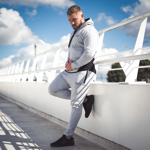 Men's Icon Long sleeve Pullover Tracksuit Grey Marl