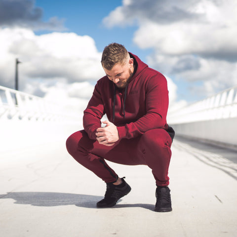 Men's Icon Long sleeve Pullover Tracksuit Burgundy