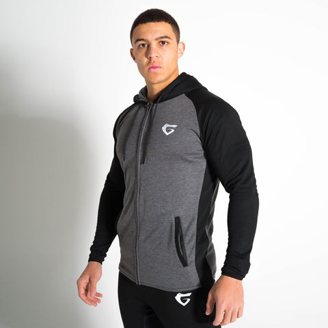 Men's Onyx Hoodie from Gymgator with tapered stretch fit, embroidered logo and zip pockets.