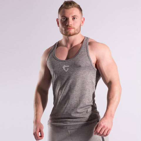 Work out clothes: Mens Stringer in space grey with Gymgator logo