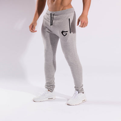 Gymgator men's gym clothing including slim fit Joggers with embroidered logo.