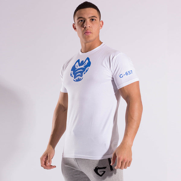 Gymgator white t shirt for men. Comfortable stretch fit for best gym wear.
