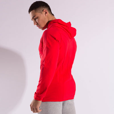 Gymgator Red Hoodie with high quality stretch material - the best gym wear for looking good