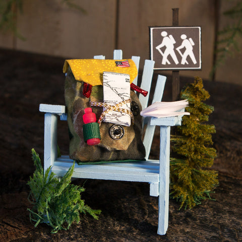 A mini Adirondack hiker themed chair.