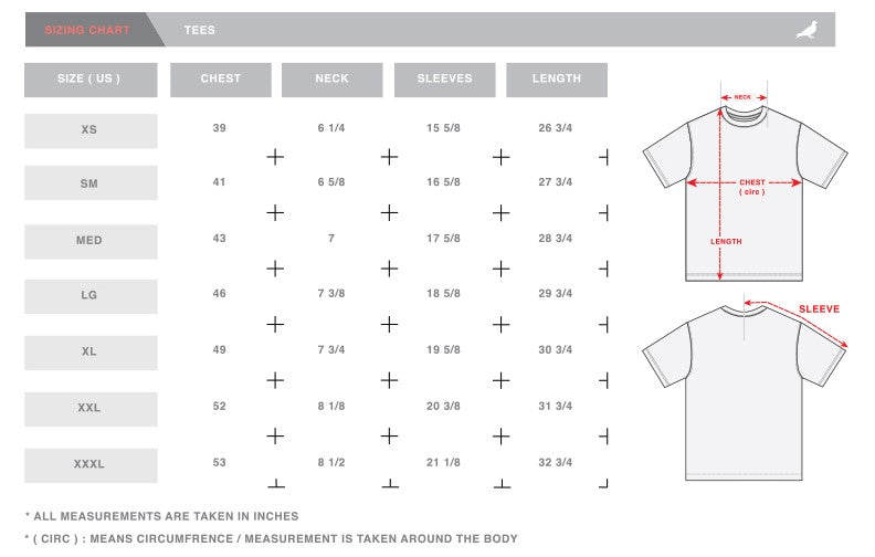 Staple Pigeon Size Chart - Tees