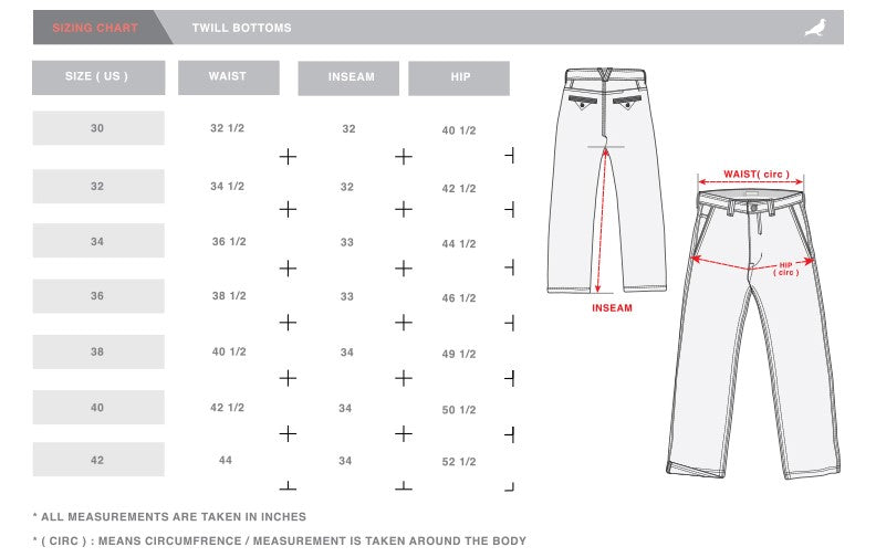 Staple Pigeon Size Chart - Pants