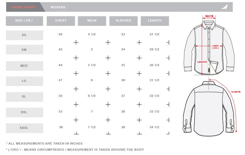 Sizing chart staple pigeon