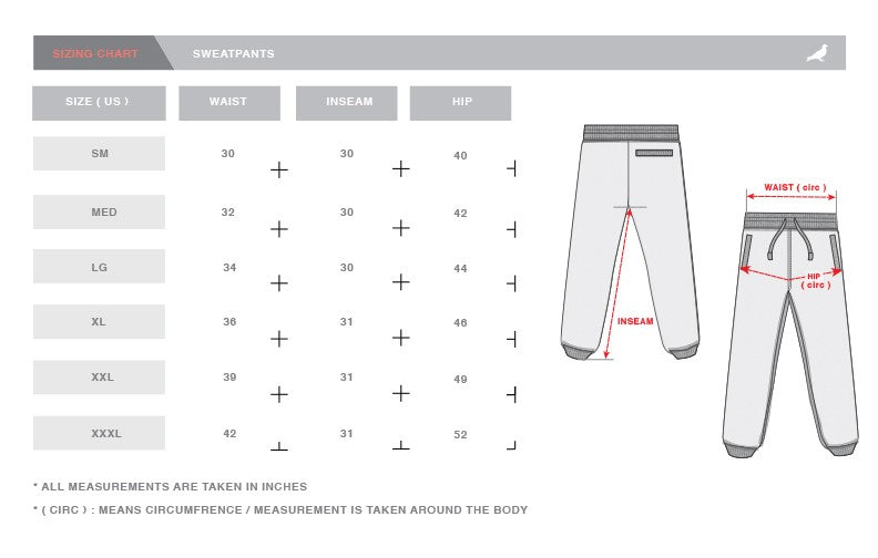 Staple Pigeon Size Chart - Joggers