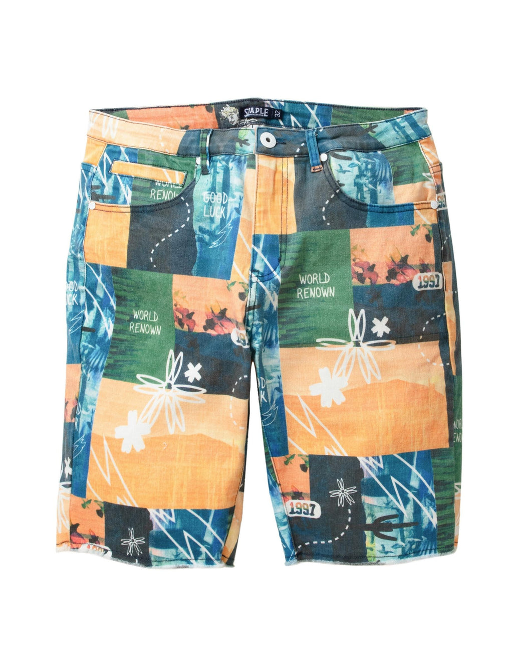 Souvenir Printed Denim Short