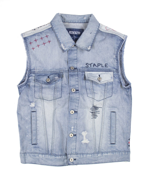 Distressed Denim Vest - Jacket - Staple Pigeon