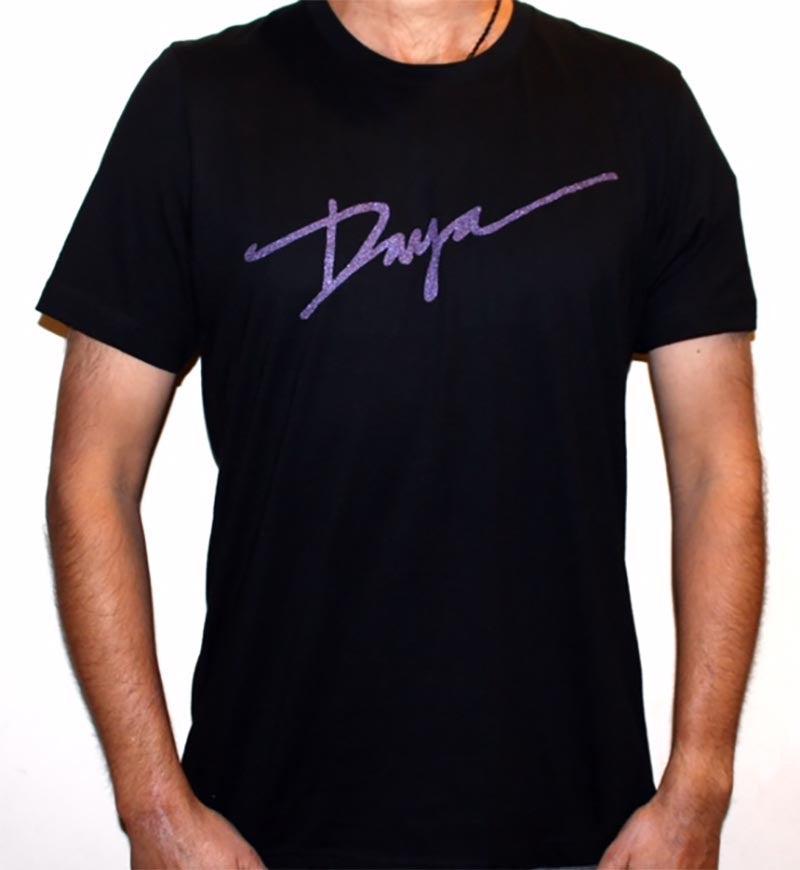 Daya Purple Logo Unisex T in black