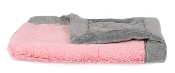 Saranoni Pink and Grey Lush Blanket