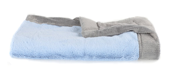 Saranoni Light Blue and Grey Lush Blanket
