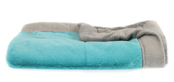 Saranoni Aqua and Grey Lush Blanket