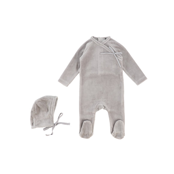 Bee & Dee Grey Velour Wrap Stretchie + Bonnet