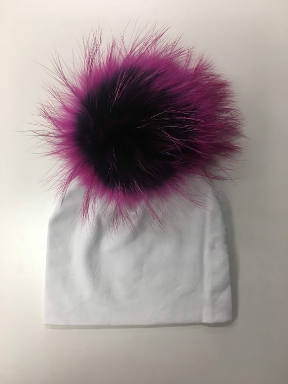 White Hat with Dark Purple Pom Pom