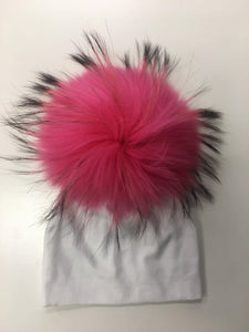 White Hat with Pink and Black Pom Pom
