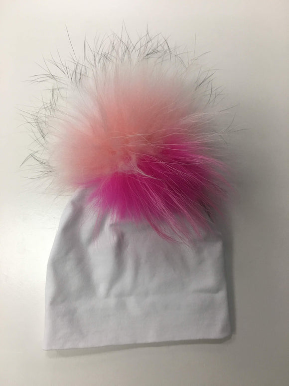 White Hat with Multicolor Pink Pom Pom
